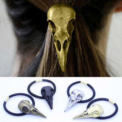 Skull Headband Halloween (1*Halloween Fancy Raven Skull Hair Tie Holder Headbands Punk Hair Accessory)