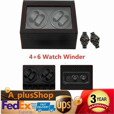 Automatic Rotation 4+6 Watch Winder Carbon Fiber Display Box Case USA STOCK