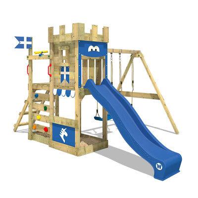 WICKEY Spielturm Klettergerüst RoyalFlyer mit Doppelschaukel und blauer Rutsche