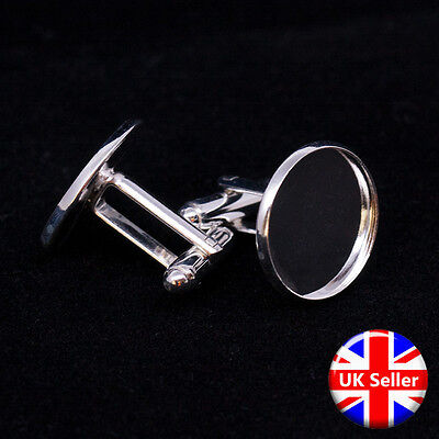 Silver Tone Cufflink Setting Blanks Fits 18mm Cabochon [20 pieces]