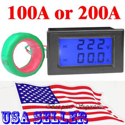 Digital LCD AC 80-300V 200-500V Volt Amp Meter Ammeter Voltmeter Panel 100A 200A