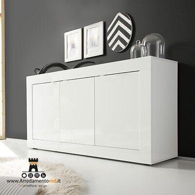 Basic Madia Contenitore 3 Ante Bianco Laccata Lucido Mobile Credenza Moderno