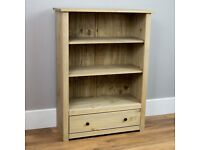 Solid pine 3 shelf, 1 drawer low level bookcase