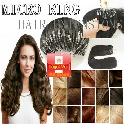 14''-24'' Double Drawn Micro Loop Ring Beads Remy Human Hair Extensions 1G/S UK