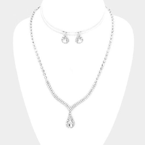 Silver Clear Rhinestone Crystal Teardrop Necklace Set Wedding Bridal Formal