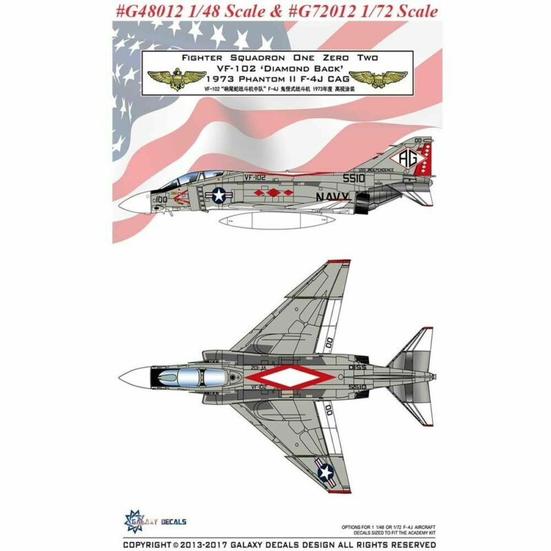 Decals for 1/48 McDonnell Douglas F-4J Phantom II VF-102 Diamond Back 1973