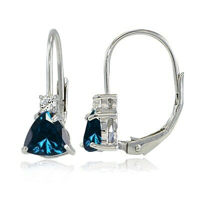 London Blue Topaz Drop (925 Silver London Blue Topaz  & White Topaz Trillion-Cut Leverback Drop Earrings )