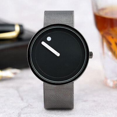 - PAIDU Simple Black Round Dial Men Women Business Quartz Wrist Watch Bracelet