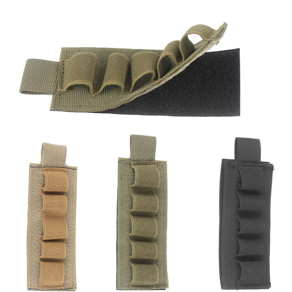 Tactical MOLLE Shotgun Shell Bag 5 Round GA Ammo Pouch Holder Carrier Military Camping & Hiking