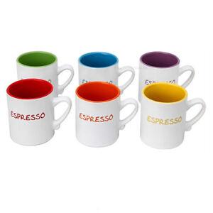 Espresso cups mini mugs 110ml ceramic coffee coloured 6 small cups gift boxed ebay - Funky espresso cups ...