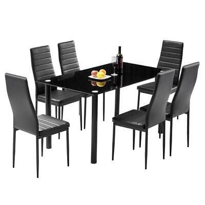 7 Piece Glass Dining Table Set 6 Chairs Room Kitchen Breakfast Furniture US