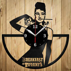 Vinyl Clock Breakfast at Tiffany's Handmade Original Gift Vinyl Clock Art Decor