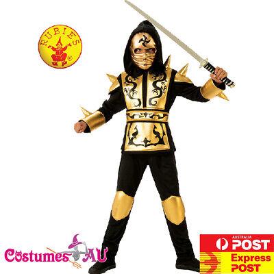 Boys Gold Ninja Costume Kids Japanese Fighter Warrior Martial Child Book Week