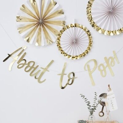 Ob Garland (Gold Foil About to Pop Bunting Banner Oh Baby Shower Party Decor Garland - 1.5m)