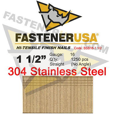 1 12 16 Gauge 304 Stainless Steel Straight Finish Nails 16 Ga 1250 Ct