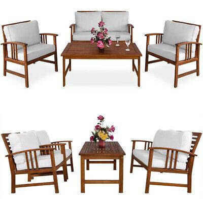 Conjunto de jardín ATLAS de madera de acacia cojínes 1 mesa 2...