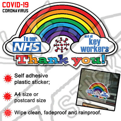 * 15% TO NHS CHARITY * Thank You NHS Rainbow Sticker COVID virus Shop Window Car