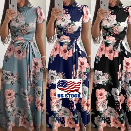 Women's Summer Boho Floral Short Sleeve Long Maxi Dress Part