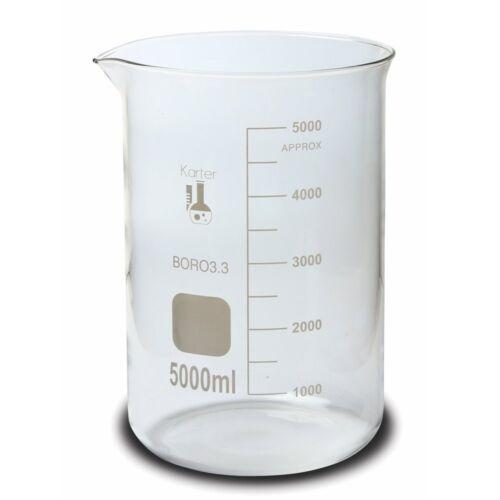 Karter Scientific, 5000 ml Low Form Graduated Glass Beaker - Case of 6