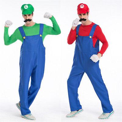 Mens Super Mario Luigi Brothers Cosplay Costume Plumber Fancy Dress Halloween