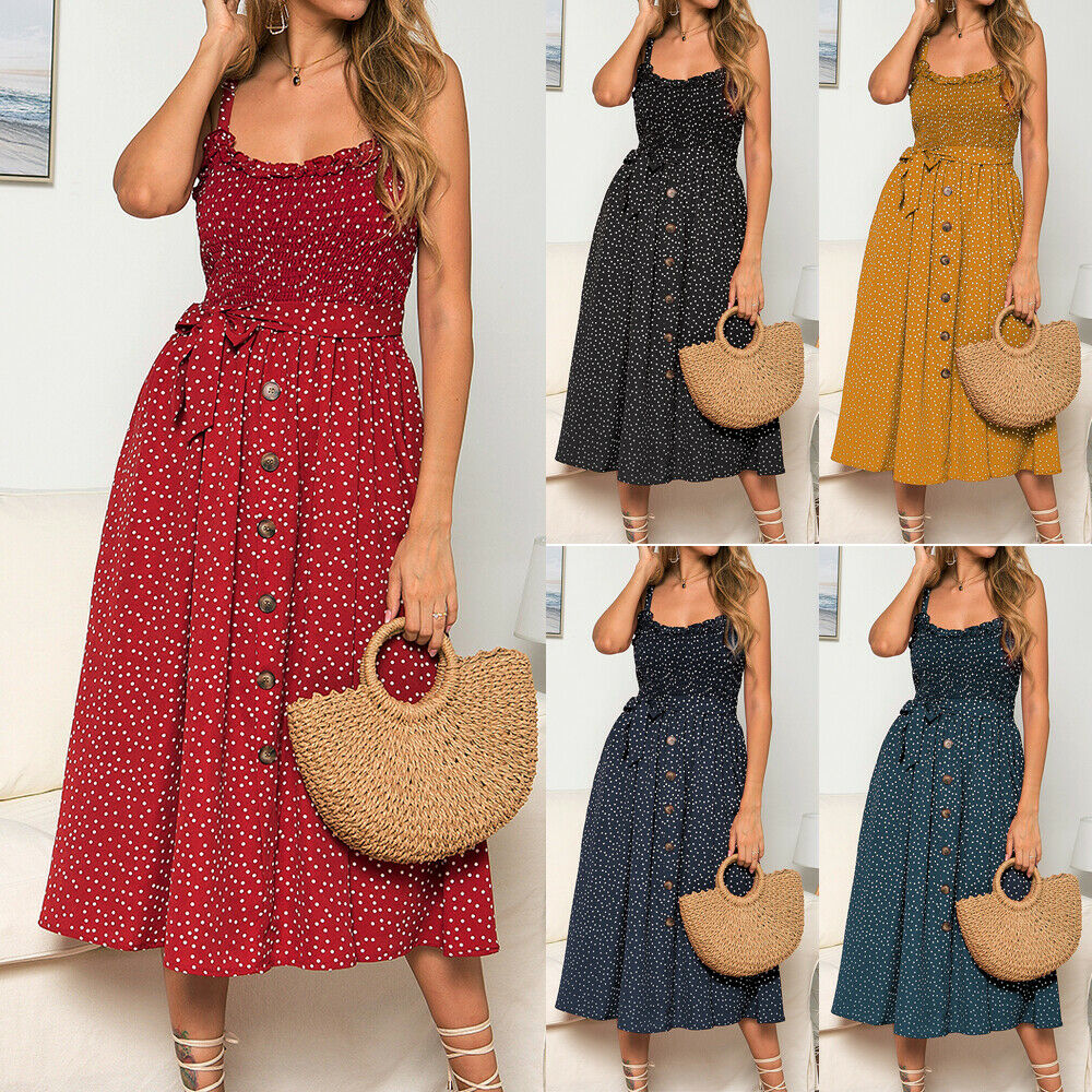 Women/'s Summer Smock Dress Tops Ladies Holiday Beach Casual Loose Shirt Sundress