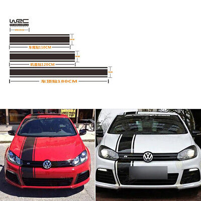 3X Racing Car Decal Vinyl Stripe Stickers+Letter for Car Cover Roof Trunk Door