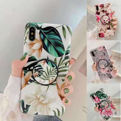 Case For iPhone 11 Pro Max XS 7 8 Plus 6s Flower Cover With Pop Up Holder Socket