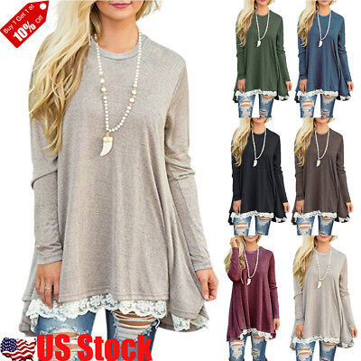 (Autumn Women Lace Long Sleeve A-Line Swing Loose Tunic Top Blouse T-Shirt Dress)