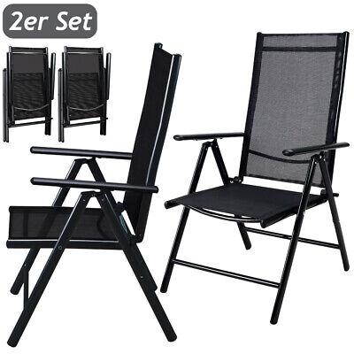 Set de 2 sillas plegables respaldo alto y ajustable de Aluminio jardín...