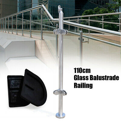 Pool Handrail Stainless Steel Glass Balustrade Corner Post Guardrails 110cm