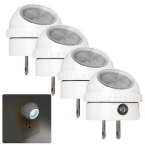4 Pack LED Night Light Plug in with Auto Sensor Photocell, White