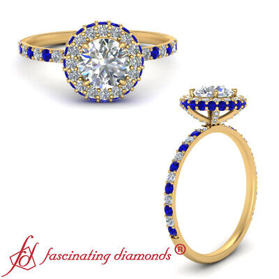 1.25 Ct Round Cut Diamond And Sapphire Gemstone Yellow Gold Halo Engagement Ring