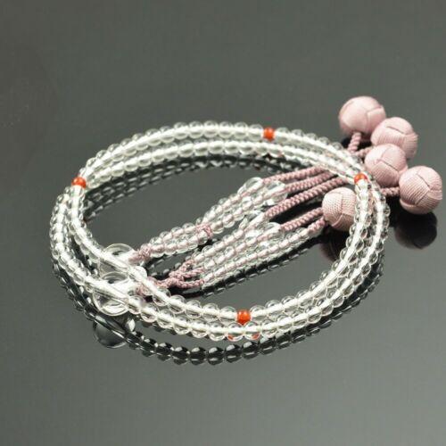Kyoto Nichiren SGI Buddhist Rosary Juzu 108 beads  Crystal Agate Woman Japan