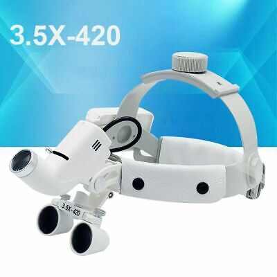 Medical Dental Headband 3.5x420mm Optical Loupes5w Led Surgical Headlight White