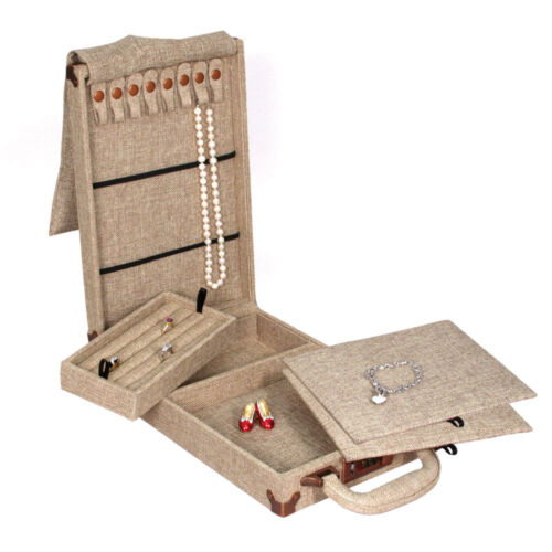 Antique Jewelry Display Case for Home Show Burlap Case for Necklace Organizer