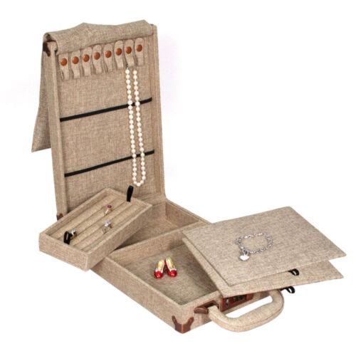 MODERN BURLAP TRAVELLING CASE  STORAGE BOX TRAVEL CASE TRADE SHOW JEWELRY CASE