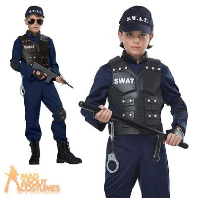 Child Junior Swat Police Costume Cop Boys Girls Fancy Dress Outfit Kids