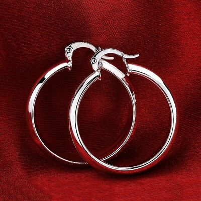 (Sterling Silver 30mm/1.2 inch Medium-Size 5mm Flat Hoop Earrings HG2)