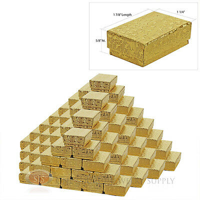 """100 Jewelry Gift Boxes Cotton Filled Gold Foil Texture 1 7/8"""" x 1 1/4"""" x 5/8"""""""