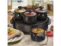 Electric Indian Curry Buffet Server and Naan Bread Warmer Hot Plate by Cooks Professional