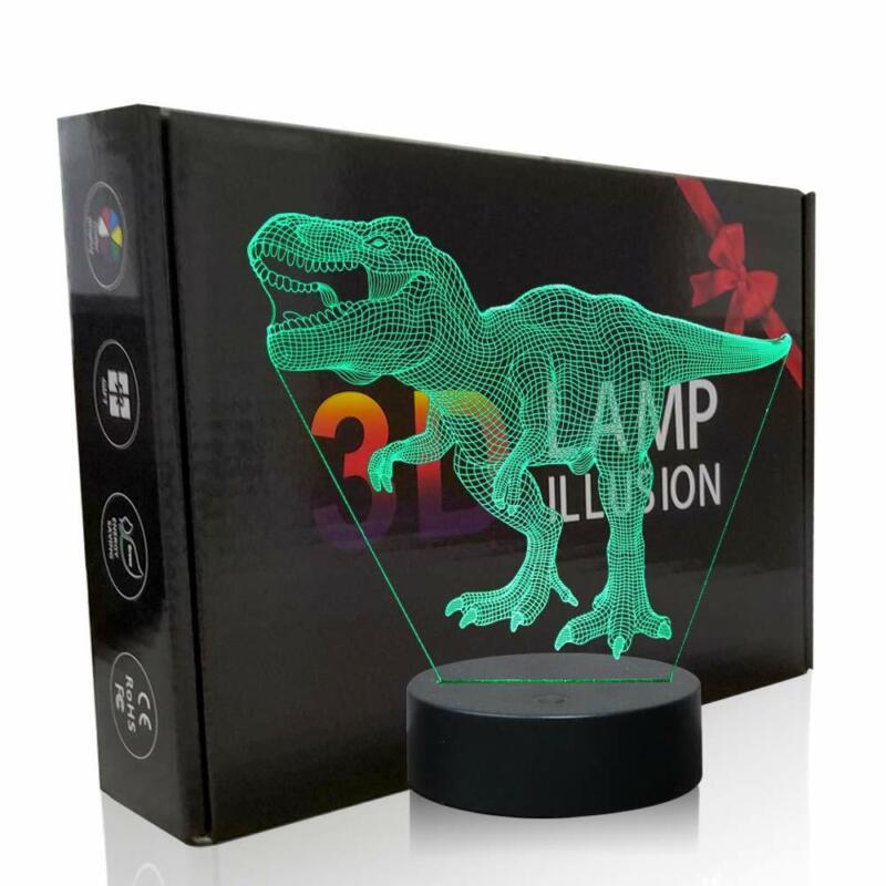 Dinosaur 3D Night Light, Shellvcase Illusion Lamp Kids Touch