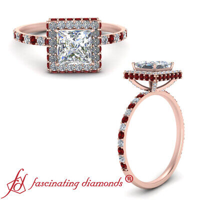 1.50 Carat Princess Cut Diamond And Ruby Gemstone Hidden Halo Engagement Ring