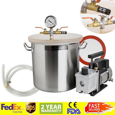 Fda5 Gallon Vacuum Degassing Chamber Silicone Kit W3 Cfm Pump Hose Sale Usa