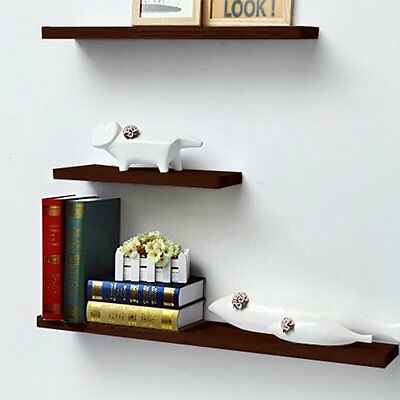3Pcs Floating Wall Shelf Mounted High Gloss Display Shelves Bookshelf Storage US