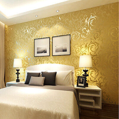 High-grade Thicking Flocking Wallpaper Roll gold and yellow Color 0.53m*10m=5.3㎡