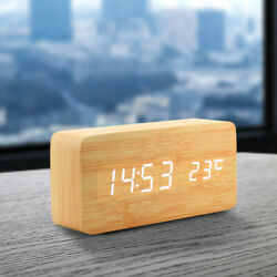Digital LED Wooden Desk Clock Alarm Snooze Voice Control Timer Thermometer