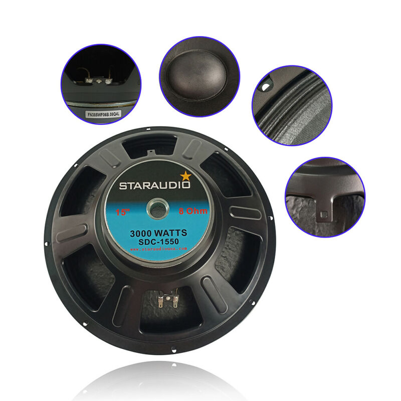 """STARAUDIO 15"""" 2500W PA Audio Speaker Woofer Home DJ Subwoofer Replacement Bass"""