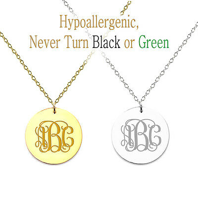"""Personalized Monogram Initial Name Necklace 7/8"""" Circle Pend"""