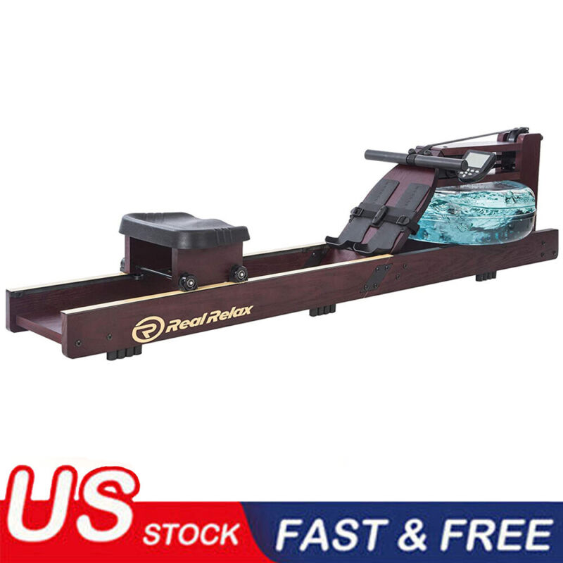 Water Rower Cardio Fitness Wood Rowing Machine LCD Monitor Home Exercise Gym BO
