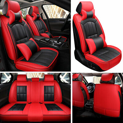 Deluxe PU Leather Car SUV Seat Covers Red Universal Front&Rear Cushion 4 Seasons